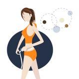 Measuring Body Size. Woman measuring her waist size Stock Photos
