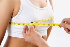 Measuring bra cup size Royalty Free Stock Image