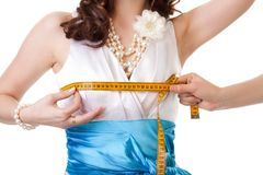 Measuring breast size Stock Images