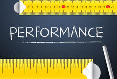 Measuring Business Performance. Concept. Two different tape measuring performance word with chalk with metric system and imperial units, flat design. Various vector illustration