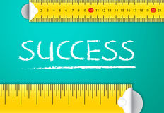 Measuring Success. And Achievement Concept in Business. Two different tape  word with chalk with metric system and imperial units, flat design. Various way of stock illustration