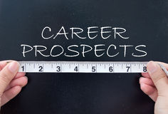 Measuring career prospects. Tape measuring the career prospects handwritten on a chalkboard Royalty Free Stock Images