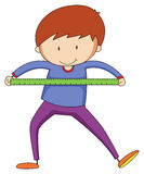 Measuring. Closeup happy boy with ruler measuring something royalty free illustration