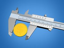 Measuring A Coin Royalty Free Stock Photos