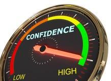 Measuring confidence level. Speedometer Measuring confidence level on high green , 3d rendered on white background stock illustration