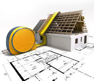 Measuring construction. 3D rendering of a house under construction with full technical details on top of blue prints, and a measuring tape Stock Image