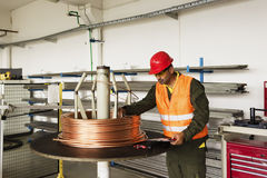 Measuring copper wire Stock Image