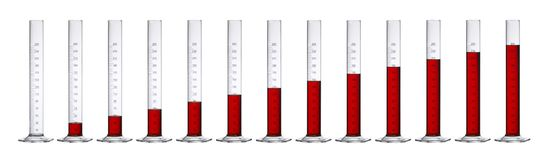 Measuring Cylinders In A Row Royalty Free Stock Photography