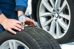 Measuring the depth of a tire tread or profile Royalty Free Stock Image