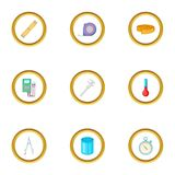 Measuring device icons set, cartoon style. Measuring device icons set. Cartoon style set of 9 measuring device vector icons for web design Royalty Free Stock Photography