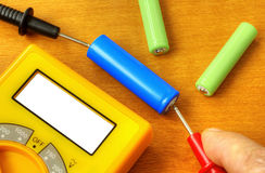 Measuring with digital multimeter stock photography