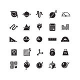 Measuring of dimension, weight, rialto, quantity, height, length vector icons Stock Images