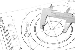 Measuring and drawing instruments in the drawings Stock Photos