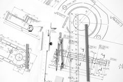 Measuring and drawing instruments in the drawings Royalty Free Stock Photos