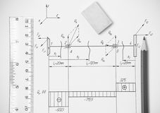 Measuring and drawing instruments in the drawings Royalty Free Stock Images