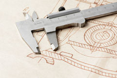 Measuring, drawing instruments and old drawings Royalty Free Stock Photos