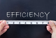Measuring efficiency. Tape measurement of the word efficiency on a chalkboard Stock Photos