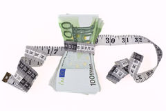Measuring Euros Stock Photo