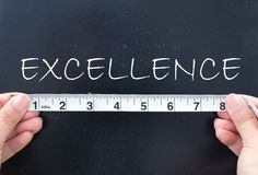 Measuring excellence. Tape measure against the word excellence royalty free stock photography