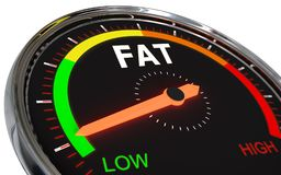 Measuring fat level. Speedometer Measuring fat level on low green , 3d rendered on white background Stock Photo