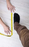 Measuring foot size Stock Image