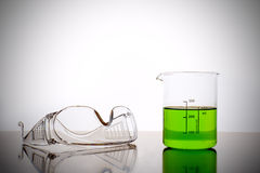 Measuring glass with safety goggles Stock Images