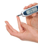 Measuring glucose level blood test Stock Photos