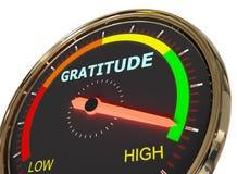 Measuring gratitude level. Speedometer Measuring gratitude level on high green , 3d rendered on white background royalty free illustration