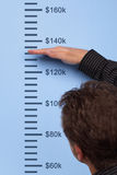 Measuring growth. Businessman measuring dollar growth on a wall height chart Stock Images