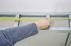 Measuring gypsum plasterboard frame Stock Photos