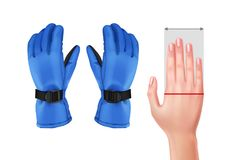 Measuring hand for gloves. Vector illustration of measuring hand for gloves with blue ski gloves isolated on white background Royalty Free Stock Photography