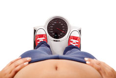 Measuring her weight Royalty Free Stock Image