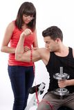 Measuring his workout Stock Images