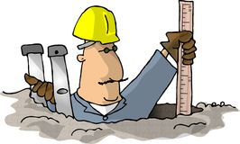 Measuring the hole. This illustration that I created depicts a man in a hole with a yardstick Stock Photos