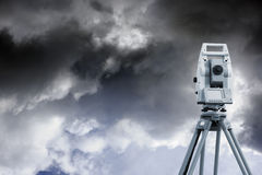 Measuring instrument and cloudy sky Royalty Free Stock Image