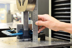 Measuring on the jig fixture shear stress specimen before test Stock Image