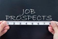 Measuring job prospects. Tape measuring the job prospects handwritten on a chalkboard Stock Photography