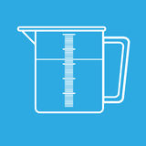 Measuring jug icon. White measuring jug icon isolated on blue  background Stock Photos