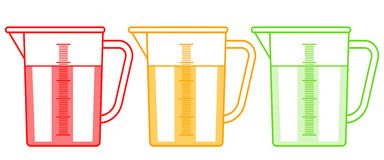 Measuring jugs set. Illustration of the measuring jugs set royalty free illustration