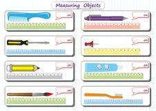 Measuring Length of the Objects with Ruler, worksheet for children, practice sheets, mathematics activities. Measuring Length of the Objects with Ruler royalty free illustration