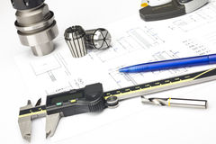 Measuring machining tools Stock Photo