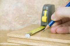 Measuring and marking wood Stock Images