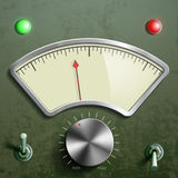 Measuring mechanical retro device with an arrow and switches. St Royalty Free Stock Image