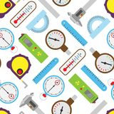 Measuring mechanism tools and electronic inspection devices engineering testing equipment seamless pattern background Stock Photo