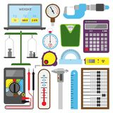 Measuring mechanism tools and electronic inspection devices illustration engineering testing construction equipment Royalty Free Stock Photos