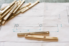 Measuring metal component Stock Image