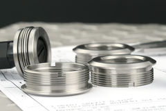 Measuring metal components royalty free stock photography
