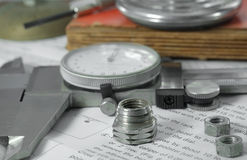 Measuring metal components. royalty free stock photography