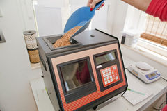 Measuring of moisture in wheat grains. Instrument for measuring of moisture in wheat grains at lab Stock Images