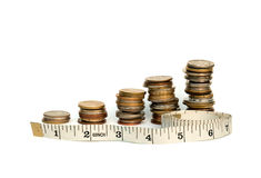 Measuring money concept isolated on white Royalty Free Stock Images